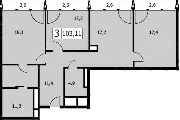 4Е-комнатная, 102.9 м²– 2