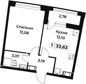 1-комнатная, 33.63 м²– 2
