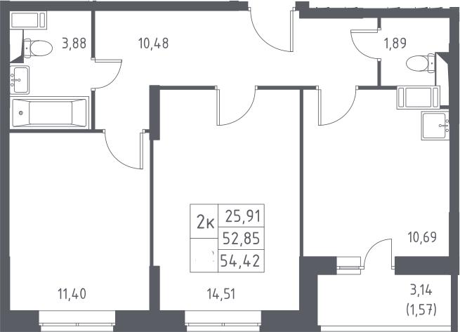 2-к.кв, 54.42 м²
