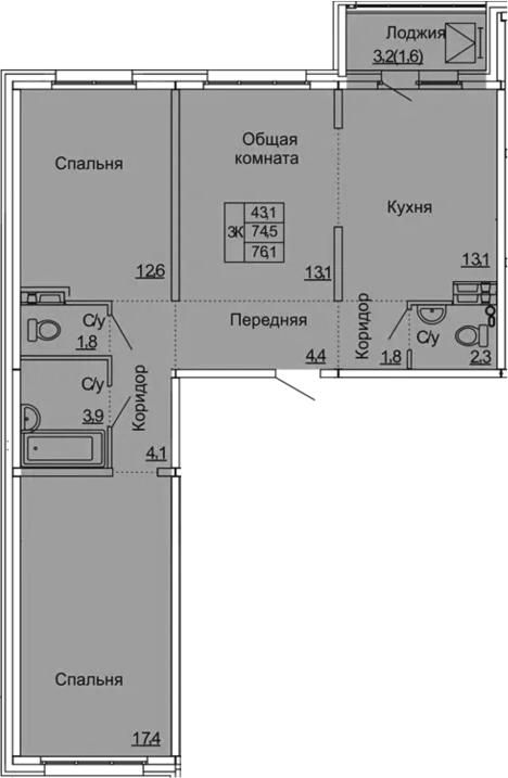 3-к.кв, 76.1 м²