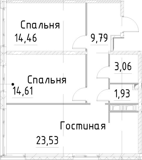 3Е-к.кв, 67.37 м²