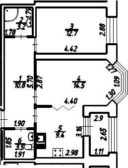 2-к.кв, 55.6 м²