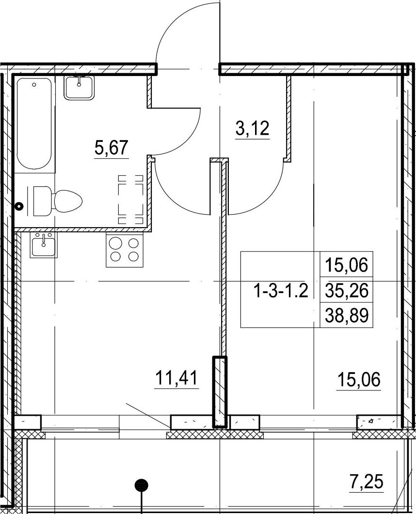 1-к.кв, 42.51 м²