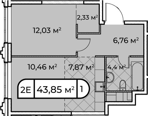 2Е-комнатная, 43.85 м²– 2