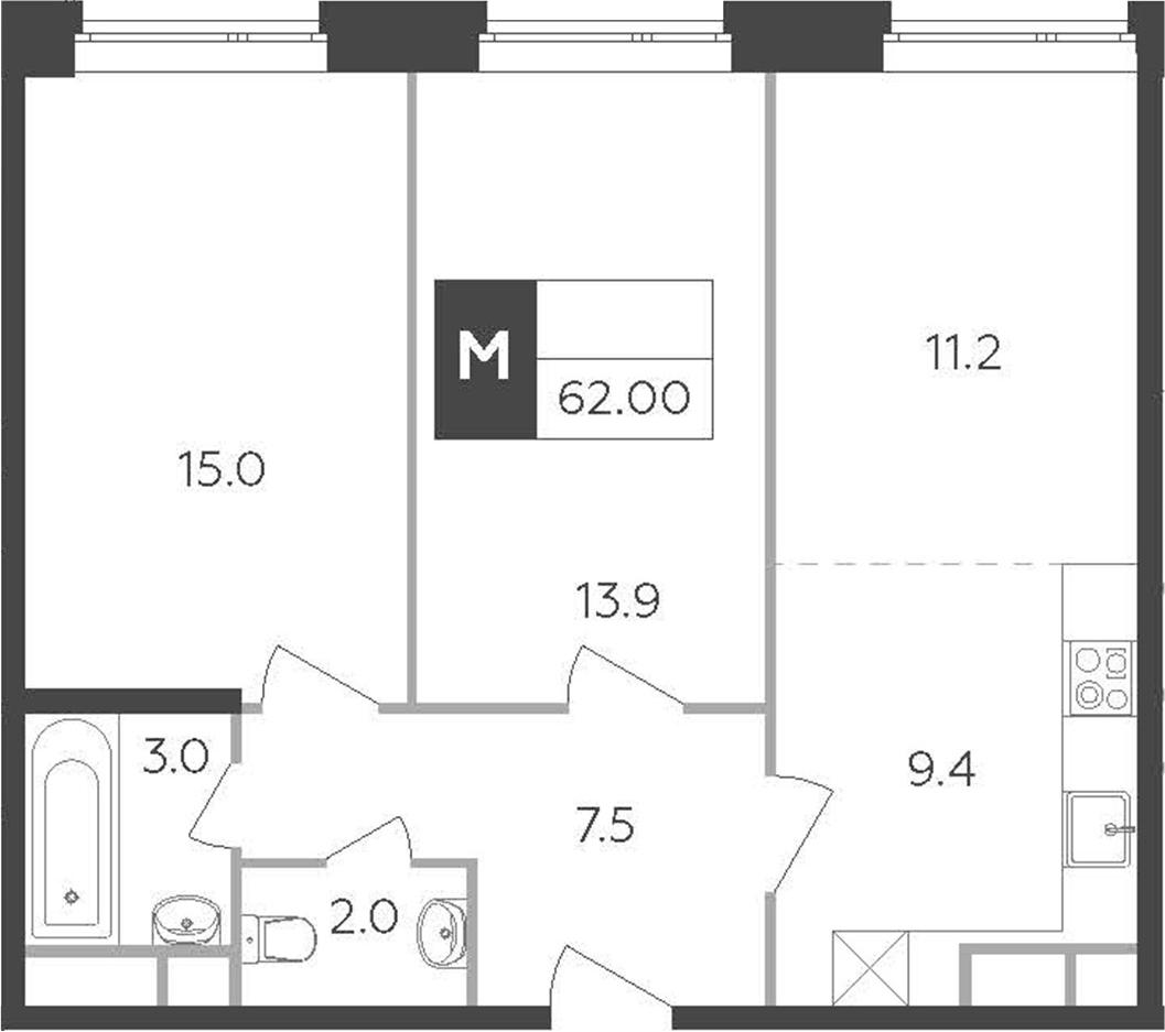3-к.кв (евро), 62 м²