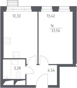 1-к.кв, 33.56 м²