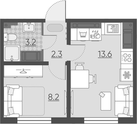 1-к.кв, 27.3 м², 22 этаж