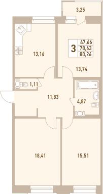 3-к.кв, 80.26 м²