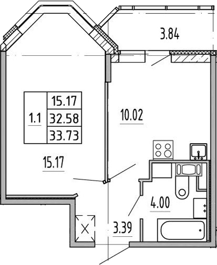 1-комнатная, 32.2 м²– 2