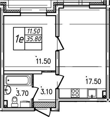 2Е-комнатная, 35.8 м²– 2