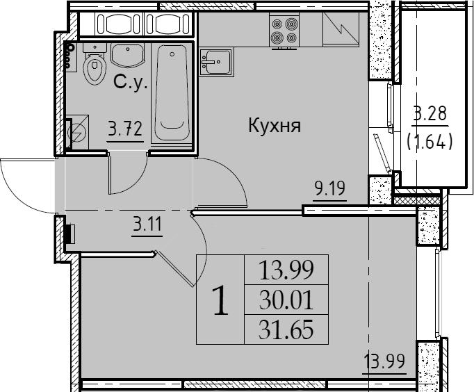 1-к.кв, 31.65 м², от 7 этажа