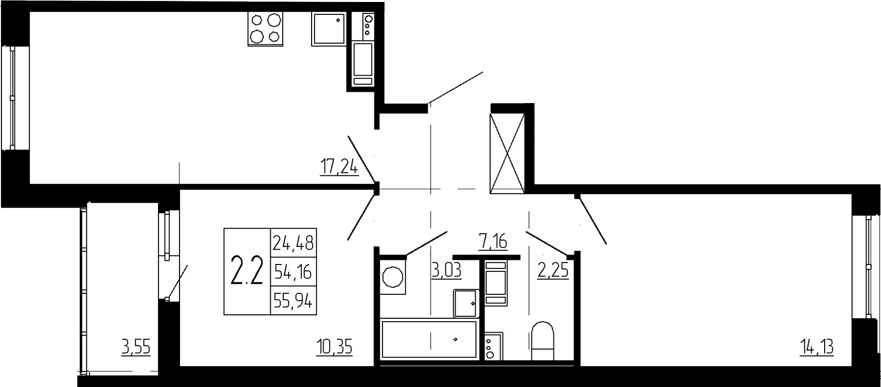 3Е-к.кв, 54.16 м²