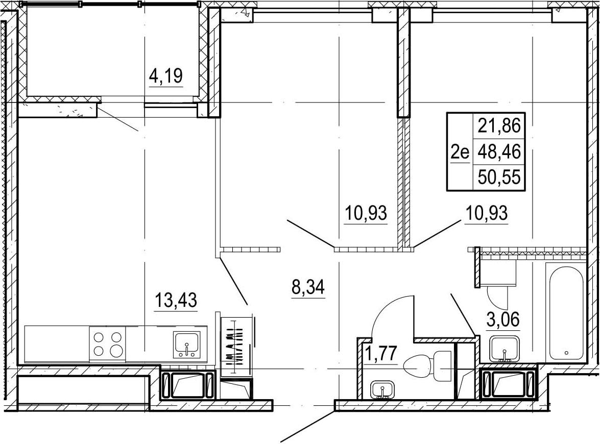 3-к.кв (евро), 52.64 м²