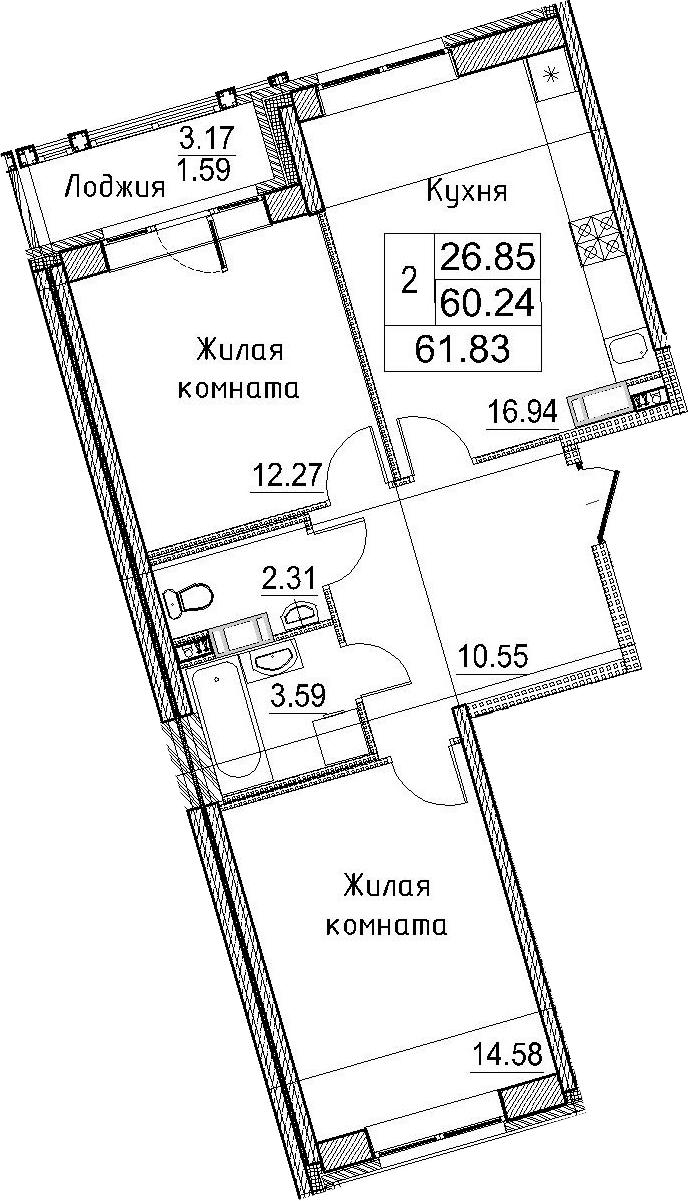 3-к.кв (евро), 63.42 м²