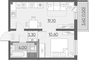 2Е-к.кв, 38 м²