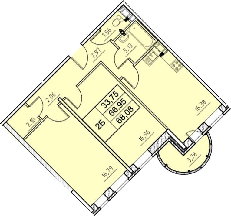 3-к.кв (евро), 70.73 м²