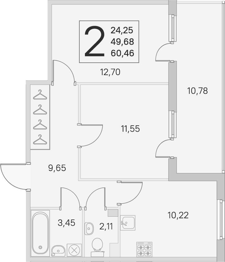 2-комнатная, 49.68 м²– 2