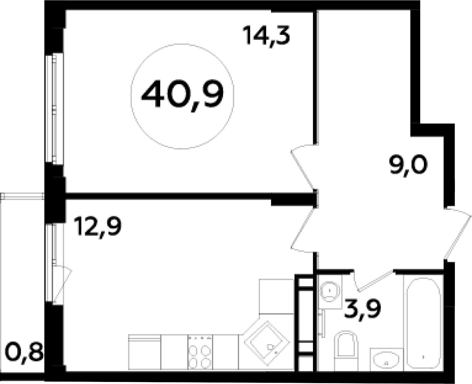 1-к.кв, 42.77 м²