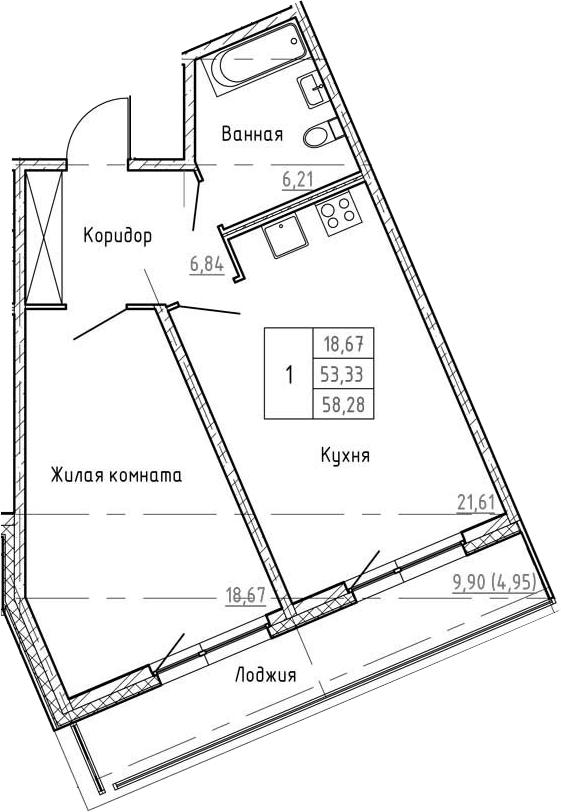 2Е-к.кв, 58.28 м²