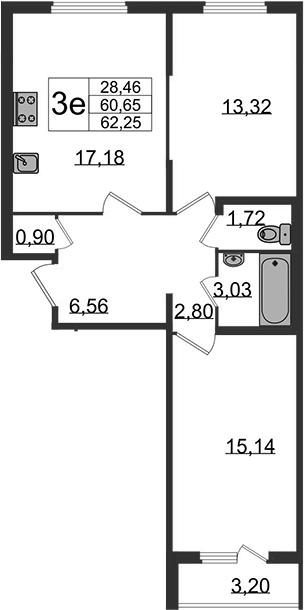 3-к.кв (евро), 63.85 м²