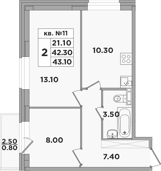 2-к.кв, 44.8 м²