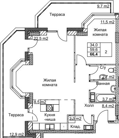 2Е-комнатная, 66.38 м²– 2