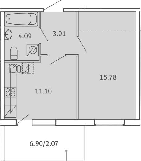 1-к.кв, 36.95 м², от 2 этажа