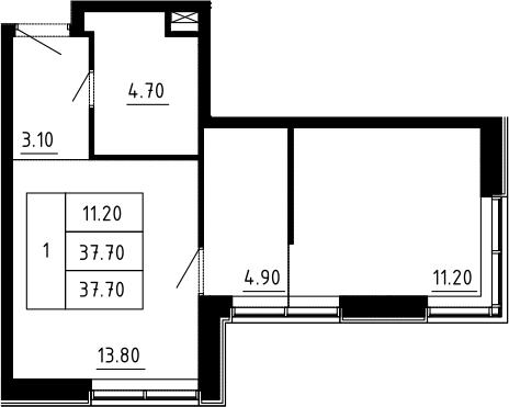 1-к.кв, 37.7 м², 2 этаж