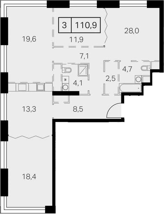 4-к.кв, 110.6 м²