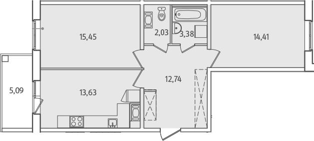 2-к.кв, 64.19 м², от 2 этажа