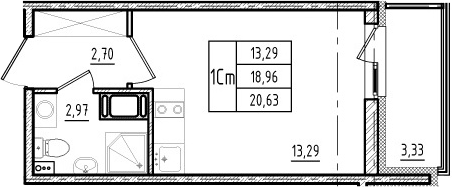 Студия, 18.96 м²– 2