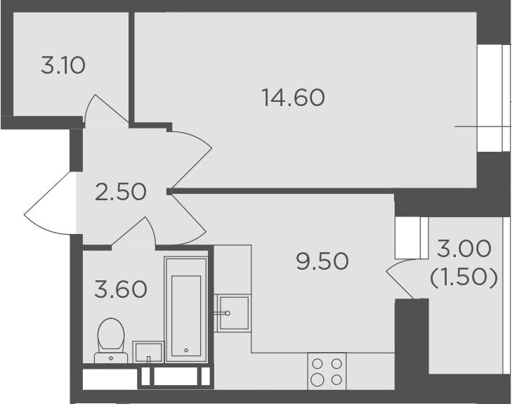 1-к.кв, 34.8 м², от 5 этажа