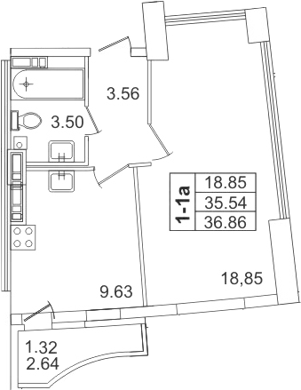 1-к.кв, 37.4 м²