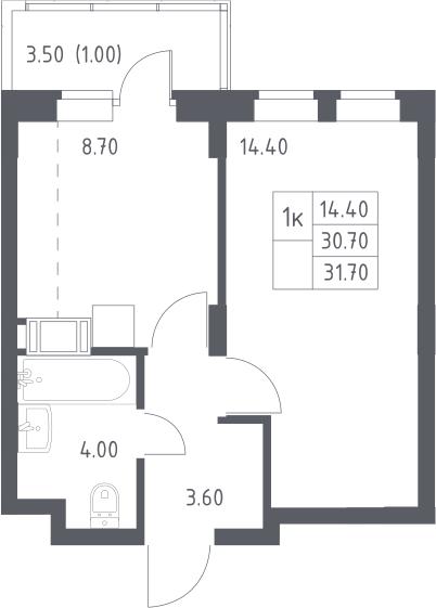1-к.кв, 31.7 м², 15 этаж