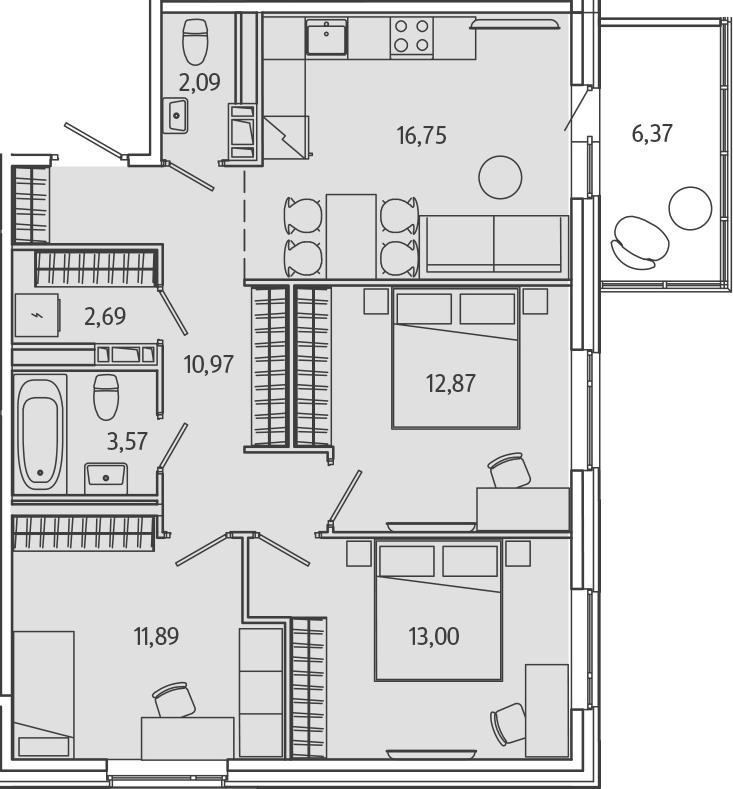 4-к.кв (евро), 77.54 м²