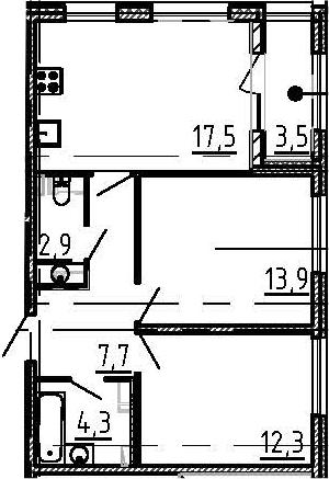 3Е-к.кв, 60.4 м²