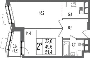 2-к.кв (евро), 53.2 м²
