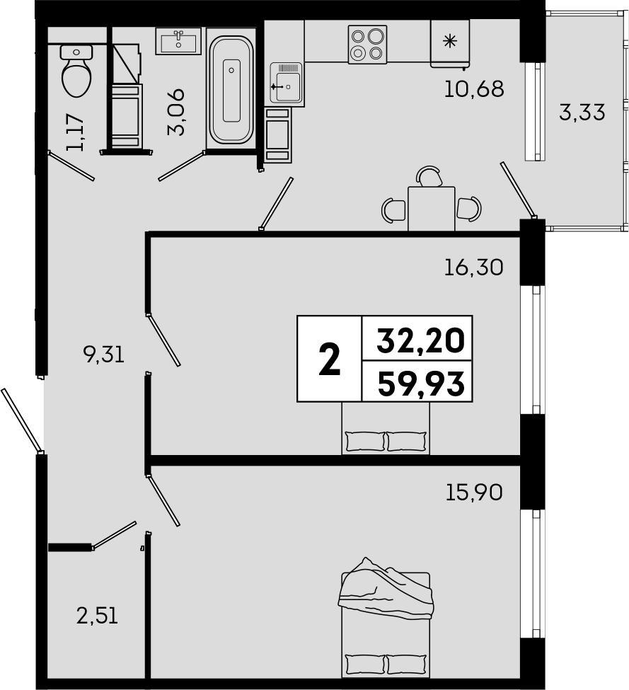2-комнатная, 59.93 м²– 2