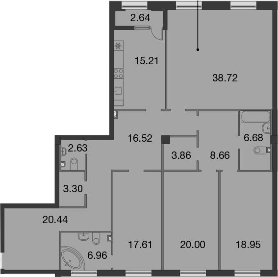 5Е-к.кв, 180.86 м², 2 этаж