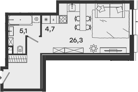 Студия, 36.1 м²– 2