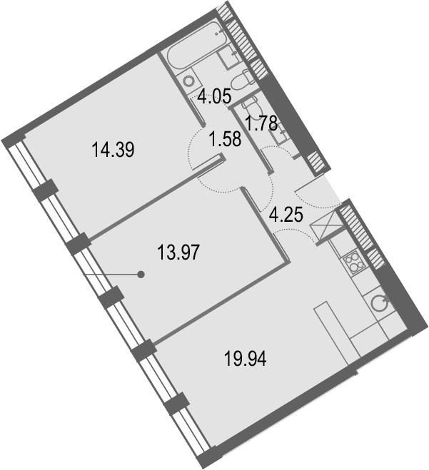 3Е-к.кв, 59.96 м², от 26 этажа