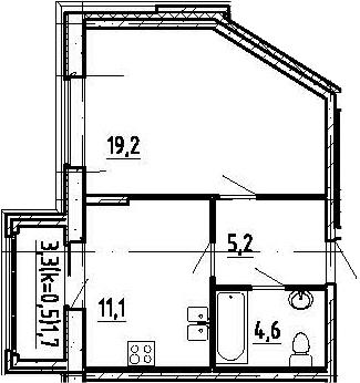 1-к.кв, 41.8 м², 6 этаж