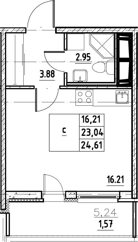 Студия, 28.28 м²