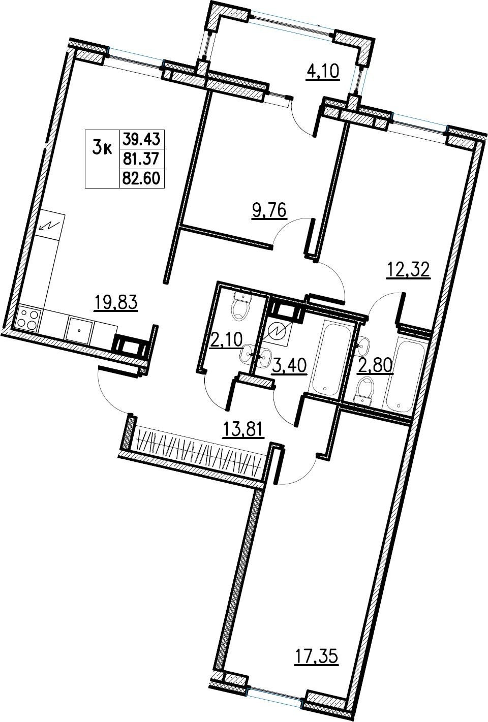 4Е-комнатная, 82.6 м²– 2