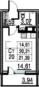 Студия, 20.21 м²