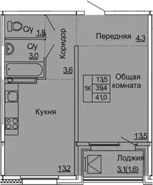 1-к.кв, 41 м², 9 этаж