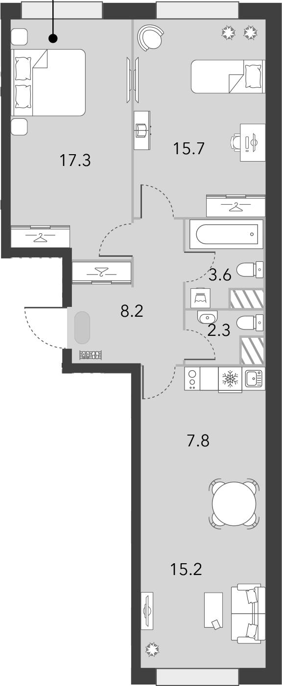3Е-комнатная, 70.1 м²– 2