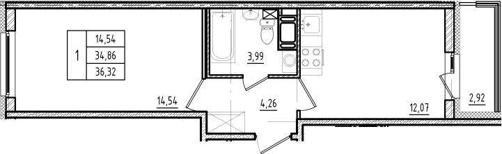 1-комнатная, 34.86 м²– 2