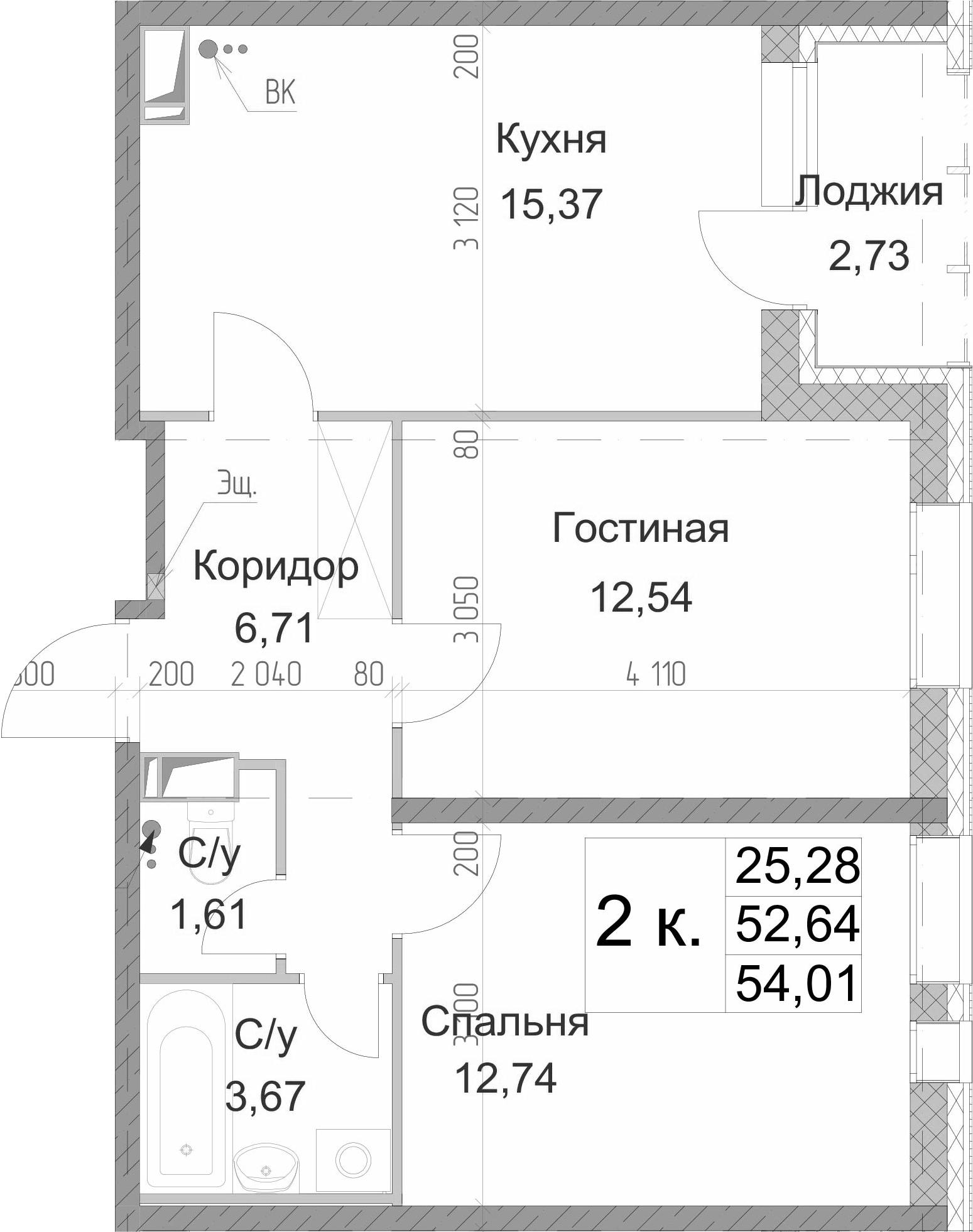 2-к.кв, 54.01 м²