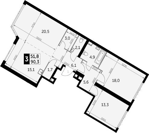 3-комнатная, 90.3 м²– 2